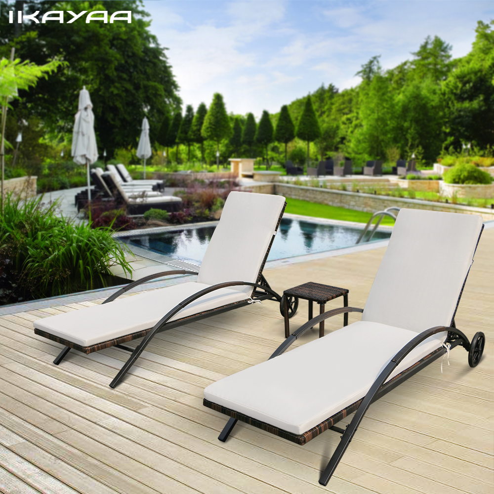 Ikayaa 3pcs rattan wicker patio chaise lounge chair set for Back porch furniture sets