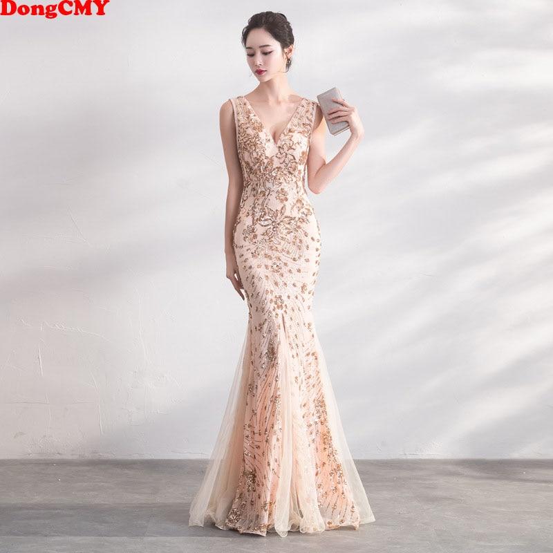 DongCMY Gold Color Sequin Prom Dresses Vestido Long Elegant Evening Party Women Gowns