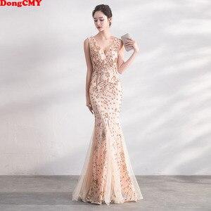 Image 1 - DongCMY Gold Farbe Pailletten Prom Kleider Vestido Lange Elegante Abend Party Frauen Kleider