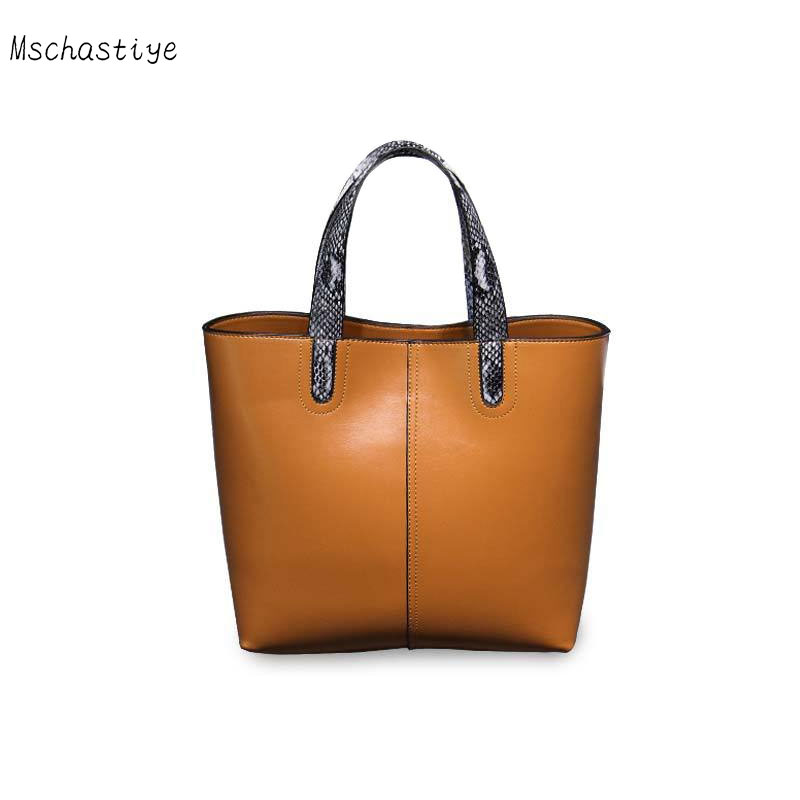 Femmes en cuir véritable seau sacs en cuir de vache femmes sacs à main 2018 fourre-tout solide Compposite sac célèbre Designer Totes Mschastiye
