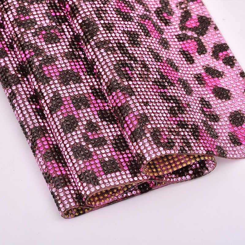 95c186739f JUNAO 24x40cm Leopard Print Crystal Mesh Self Adhesive Rhinestones Trim  Glass Stones Fabric Strass Sheet for Dress Trim Applique