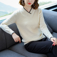 OLGITUM 2019 Autumn Winter Women Sweaters V neck Personality Slim Pullover