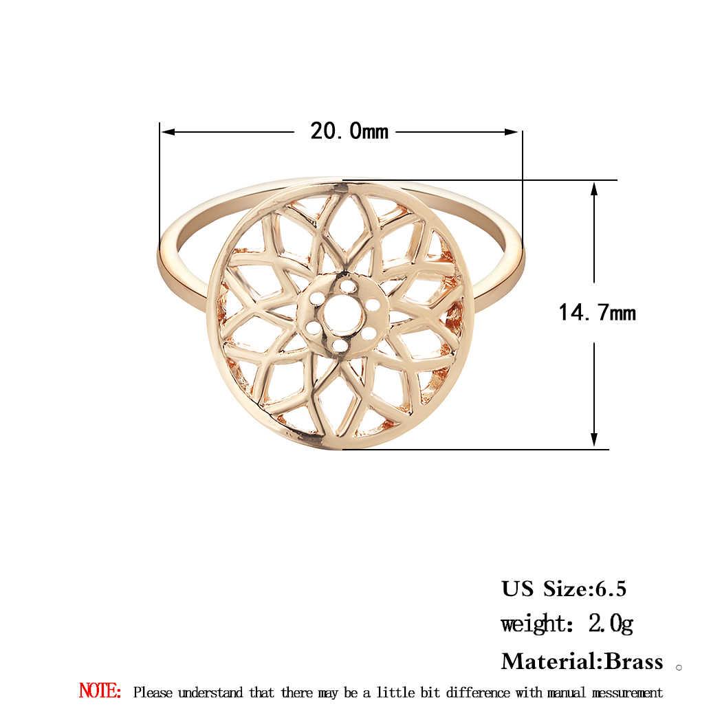 Cxwind แฟชั่นหัวใจดอกไม้ Cross Feather แหวนนิ้วมือแหวน Statement แหวนขายส่ง