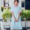 Chic 100 Cotton M0012 New Summer Soft Sense Long Loose S M Size Sky Blue Dress