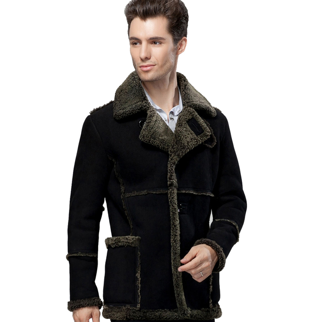 2017 Men Thick Real Fur Overcoat Natural Black Yellow Male Suede Jacket Medium-long Shearling Sheepskin Genuine Leather Clothing