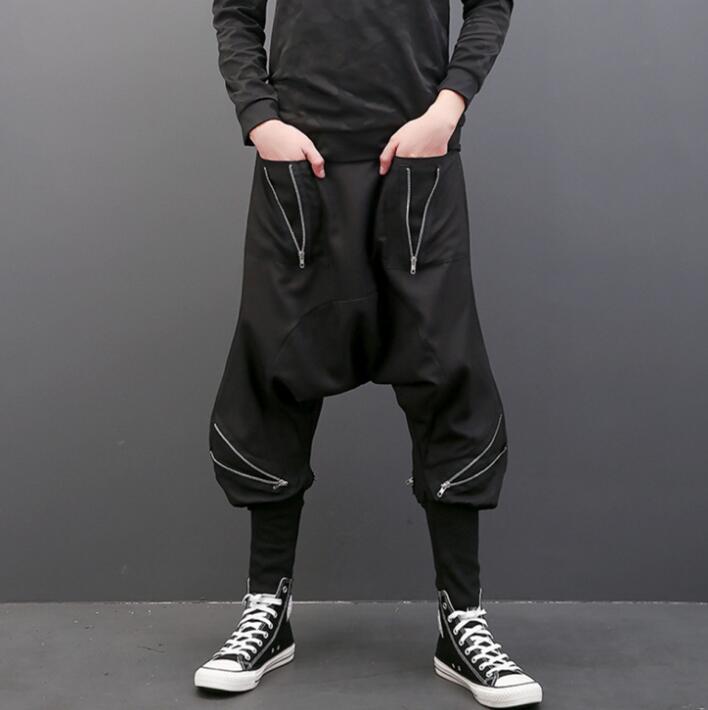 Осень Личность Мода молнии свободные штаны-шаровары Мужские Брюки Хомбре Брюки-Карго Облегающие штаны для мужчин мужские панталоны