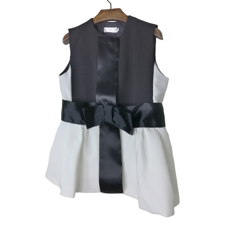 Han Edition Spring And Summer New High Quality Stitching Super Show Thin Bowknot Minus Age Temperament Dress Waistcoat Jacket