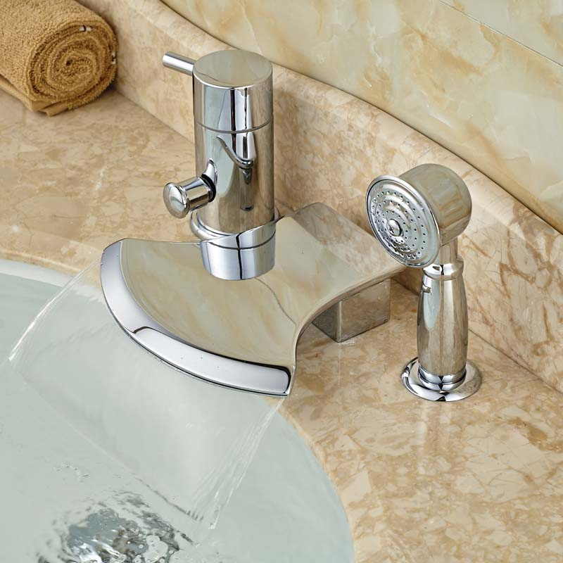 Bathroom Bathtub Deck Mounted Mixer Taps Single Handle Three Holes with Handshower Bright Chrome brand new deck mounted chrome single handle bathroom