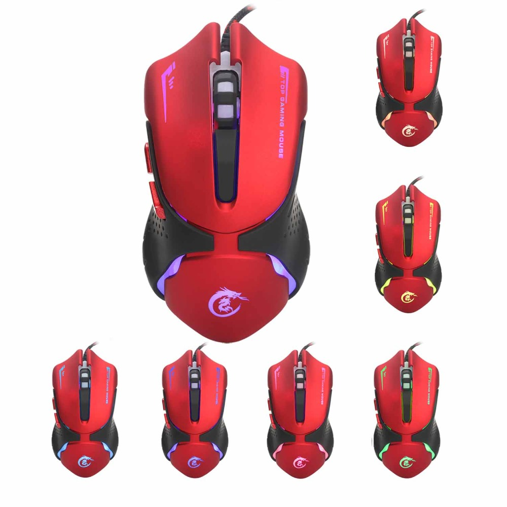 Yoteen 3200 DPI Gaming Mouse Red Color Ergonomical Design 6 Buttons Optical USB Wired High-end optical engine precise positioni image