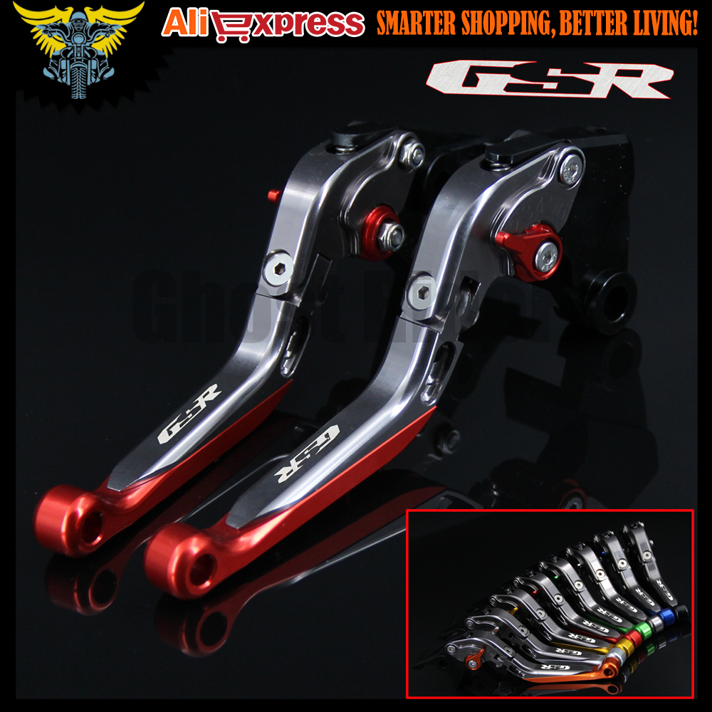 Logo(GSR) Red+Titanium CNC Adjustable Folding Motorcycle Brake Clutch Levers For Suzuki GSR600 2006 2007 2008 2009 2010 2011 billet alu folding adjustable brake clutch levers for motoguzzi griso 850 breva 1100 norge 1200 06 2013 07 08 1200 sport stelvio