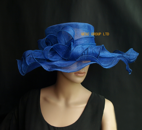 Royal blue wide brim Church Hat Wedding Hat.-in Fedoras from Apparel ... 997d3555701