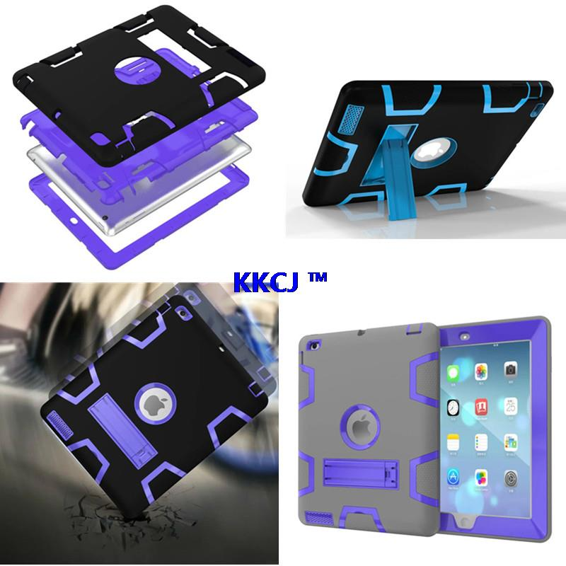 WES For Ipad2 ipad3 ipad4 High Impact Resistant Silicon Plasic Hybrid Three Layer Armor Protective Case For iPad 2 3 4 Tablet