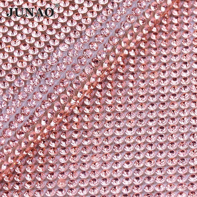 JUNAO 24 40cm Light Peach Color Glass Crystal Rhinestone Trim Banding Hotfix  Strass Crystal Mesh Bridal Beaded Applique e4f45811aae8