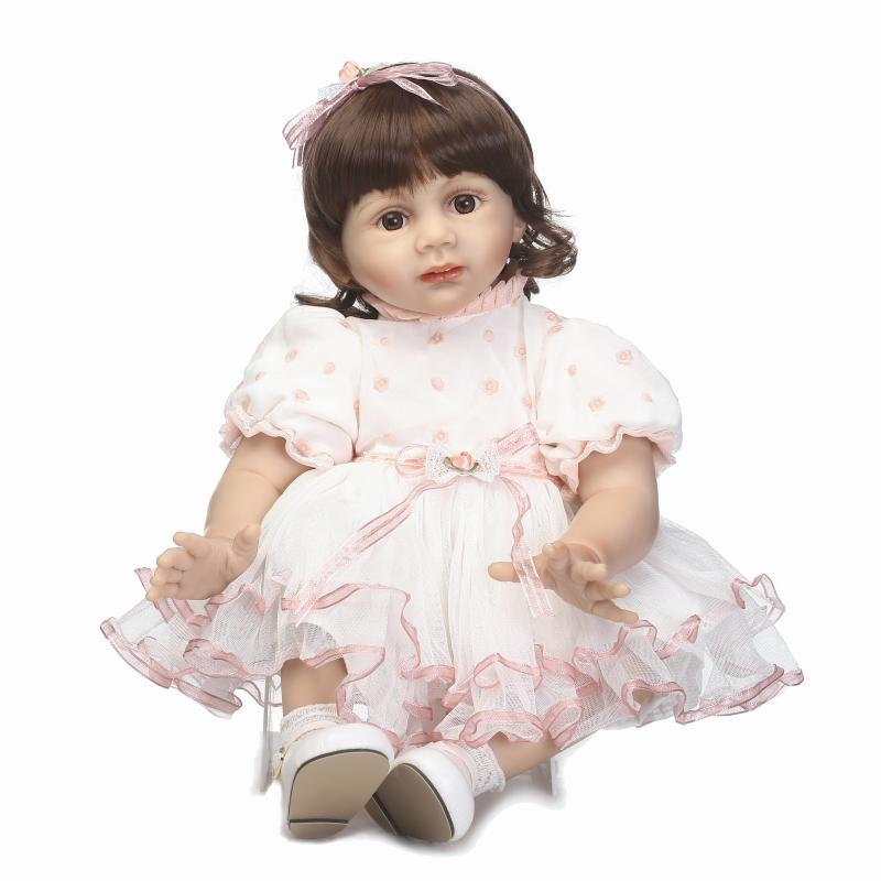 Beautiful Reborn Toddler baby doll with wig hair doll Baby clothing model and tors for children on Birthday very beautiful doll long wig hair doll hot selling present for children