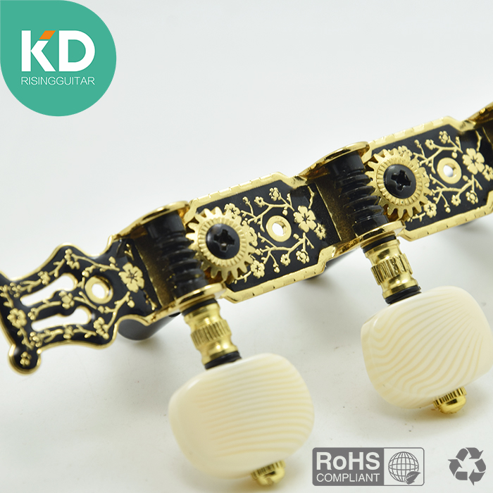 2 PCs per set High end Classical Guitar Tuning Pegs Machine Heads Black Gold color Vintage style guitar accessary