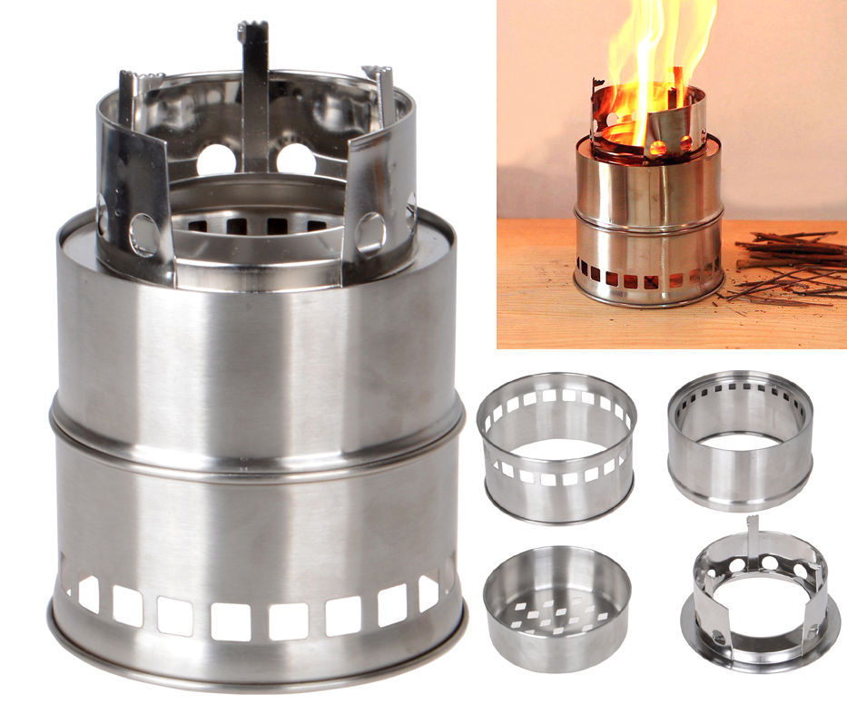 Portable Wood Burning Stove Stainless Steel Outdoor Survival Camping Net Bag NEW
