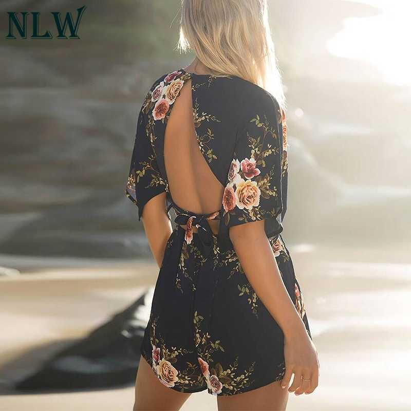 NLW Boho Цветочные шифоновый комбинезон с v-образным вырезом платье с открытой спиной и короткими рукавами на молнии Летние Боди 2019 Для женщин хаки пикантные пляжный костюм комбинезон