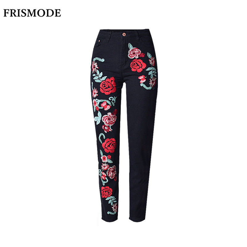 Plus Size Floral Embroidery Loose Jeans Woman Black Long Pant Spring Summer Fall Fashion pantalones mujer Women High Waist Jeans summer women spring trecking quick dry hiking shirt woman fishing pant sportwear camping trousers suit plus size shirt pant s21