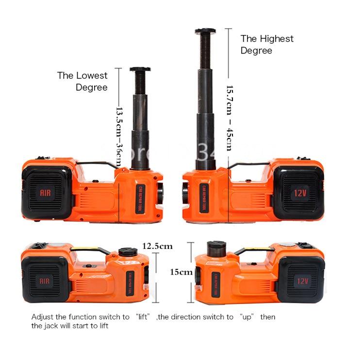 Atualizado dc12v 5ton 3 em 1 elétrica hidráulica piso jack pneu inflator bomba e lanterna led conjunto com chave de impacto elétrica - 4