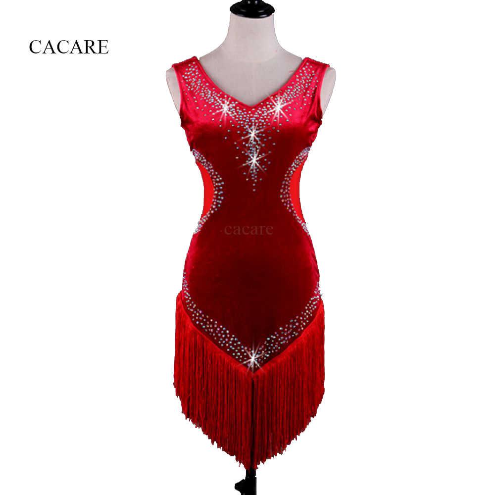 CACARE костюмы для латинских танцев женские бархатные Сальса Танго 6 вариантов D0368 кисточки Стразы
