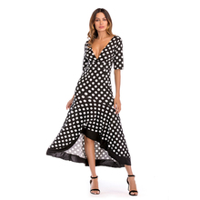 Women Summer Long Dress Autumn Sexy Asymmetrical Ruffles Dress White Black Dot Print Deep V Neck Empire Waist Maxi Dress black leaf print v neck maxi dress