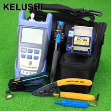 Kelushi Glasvezel Ftth Tool Kit Met FC 6S Fiber Cleaver En Optische Power Meter 5Km Visual Fault Locator 1mw Draad Stripper