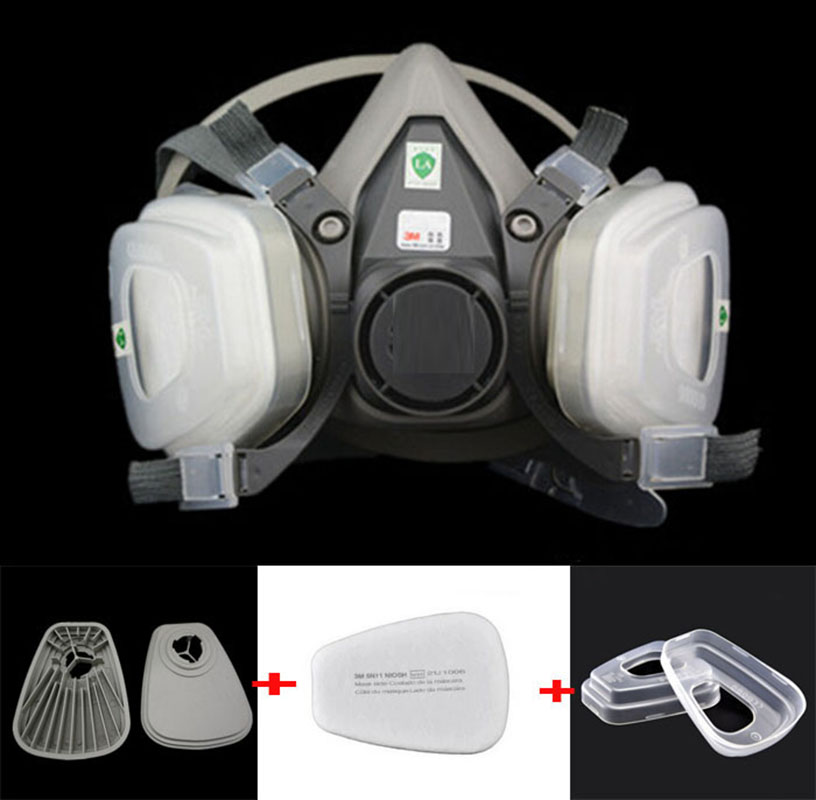 7 in 1 Suit Half Face Gas Mask Respirator Painting Spraying For 3 M 6200 N95 PM2.5 gas Mask skull style half face mask old silvery