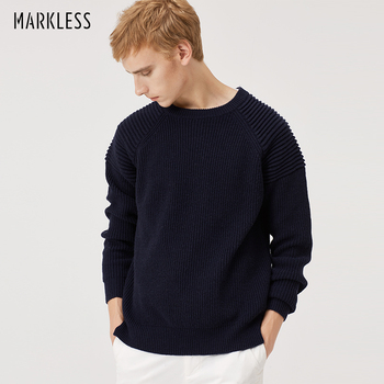 Markless O-neck Pullover Men Sweater 2018 Winter Thick Warm Sweaters Mens Crewneck Loose Knitted sueter hombre MSA8703M markless o neck sweater men 100% cotton winter warm stripe sweaters pullover men christmas pull homme sueter hombre msa3710m