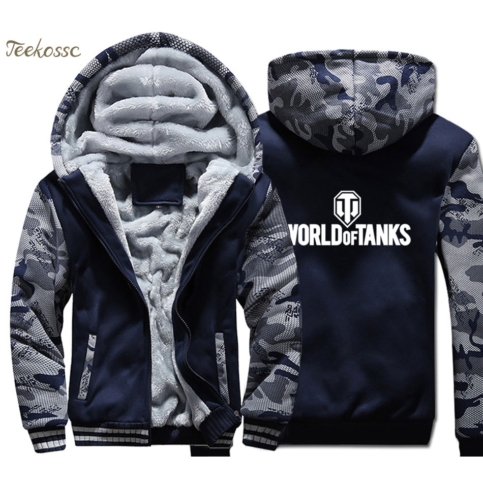 World Of Tanks Hoodies Men World War 2 Sweatshirts Coats Winter Thick Fleece Warm Zipper Hip Hop Jackets Printed Streetwear Mens