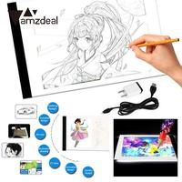 amzdeal LED A4 Art Copy Board Craft Tracing Drawing Table Pad Light Box Super Thin Artcraft Drawing Copying Sketch US Plug