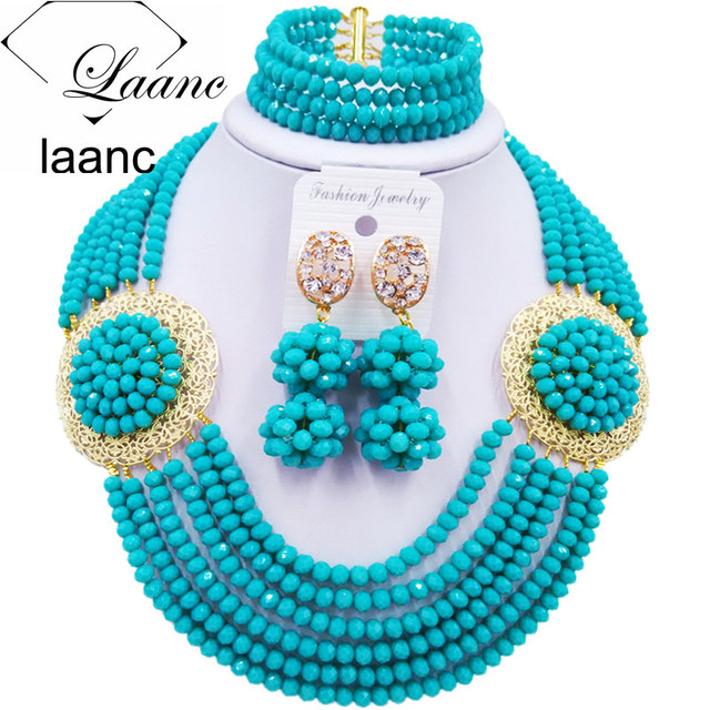 Latest Aqua Blue African Fashion Beads Jewelry Set Necklace Nigerian Wedding Bridal Party Jewelry Sets PHDS001