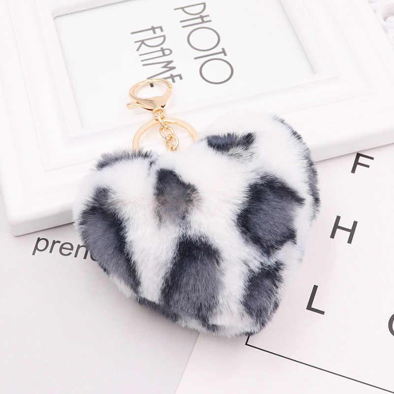 RE Atacado animal do Leopardo faux fur pompons pendurado chaveiro carro chaveiro mulheres bolsa encantos jóias em forma de Coração bugiganga K31