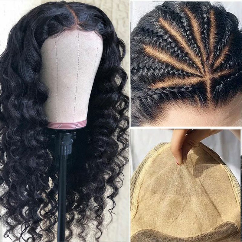 Invisible Fake Scalp 13x6 Deep Part Lace Front Human Hair Loose Wave Wig Brazilian Remy Preplucked