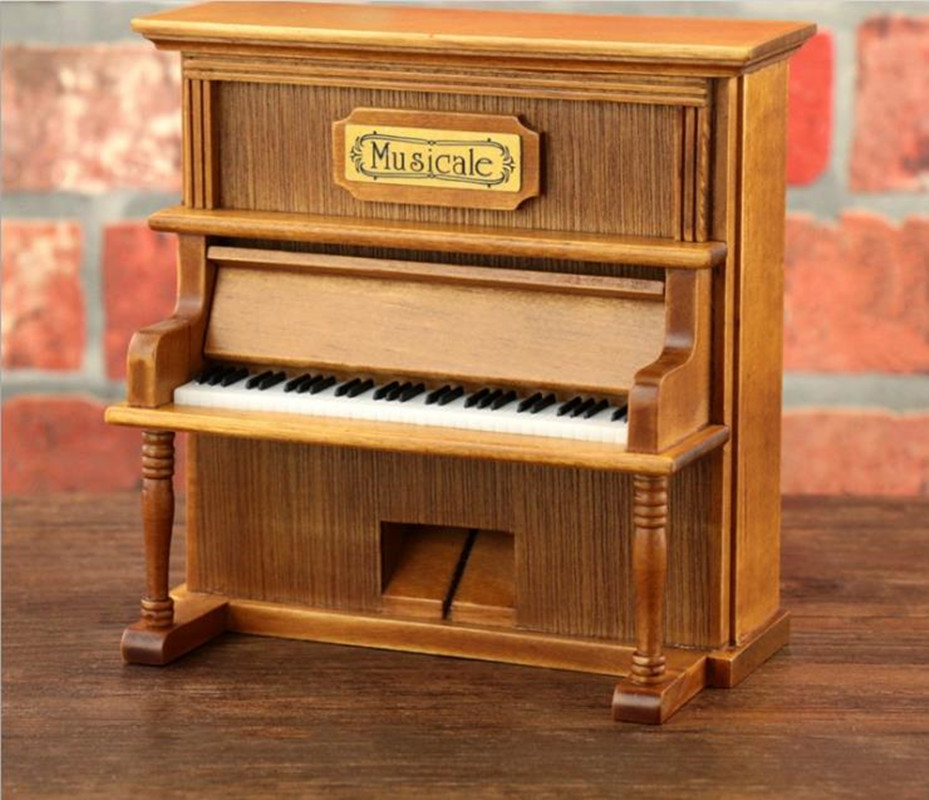 Vintage Wooden Piano Cheap Music Box Hand Cranked Clockwork Princess Love Girl Valentine's Day Christmas gift Home Decoration