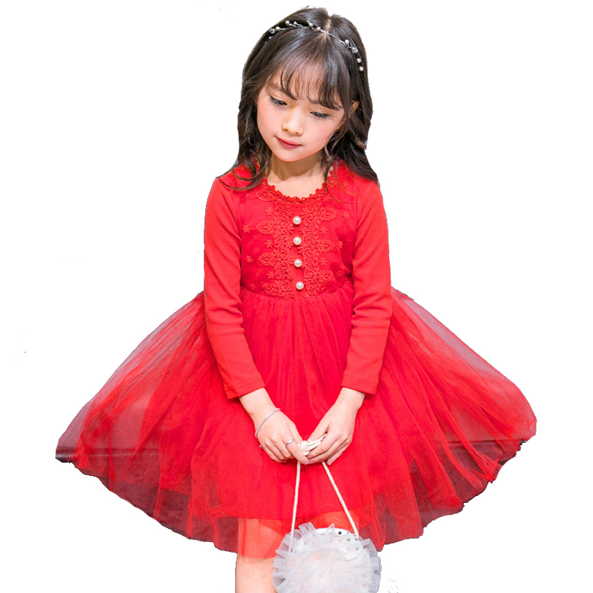Baby Kids Girls Dress Lace Wedding Party Dress 2018 New Girls Long Sleeve Princess Dress for Child Clothes Cute Casual Teenager girls europe and the united states children s wear red princess long sleeve princess dress child kids clothing red bow lace