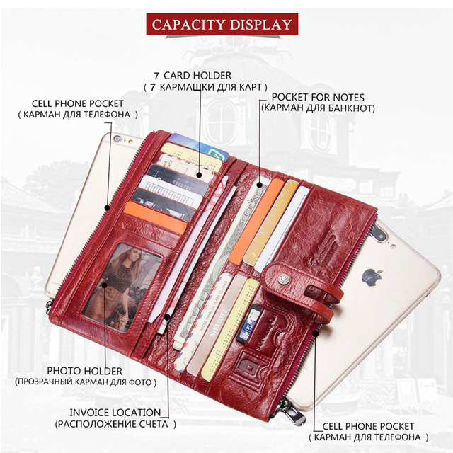 Women Purses Long Zipper Genuine Leather Ladies Clutch Bags With Cellphone Holder High Quality Card Holder Wallet 2