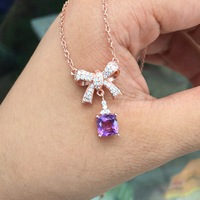 Solid Sterling Silver Fine Jewelry Amethyst Charms Necklace Birthstone Gemstone Pendant Rose Gold Color Bowknot Collar