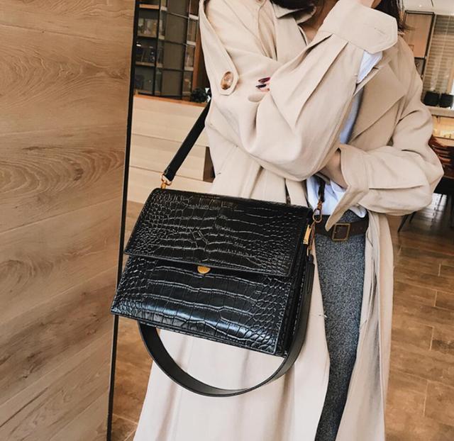 European Fashion Simple Women's Designer Handbag 2018 New Quality PU Leather Women Tote bag Alligator Shoulder Crossbody Bags 3