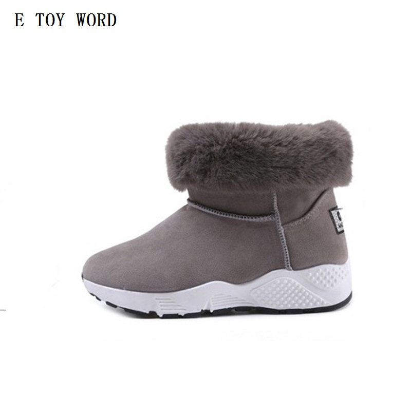 E TOY WORD 2017 New Women Boots  Solid Casual Ankle Boots Martin Round Toe Women Shoes winter snow boots warm british style цены онлайн