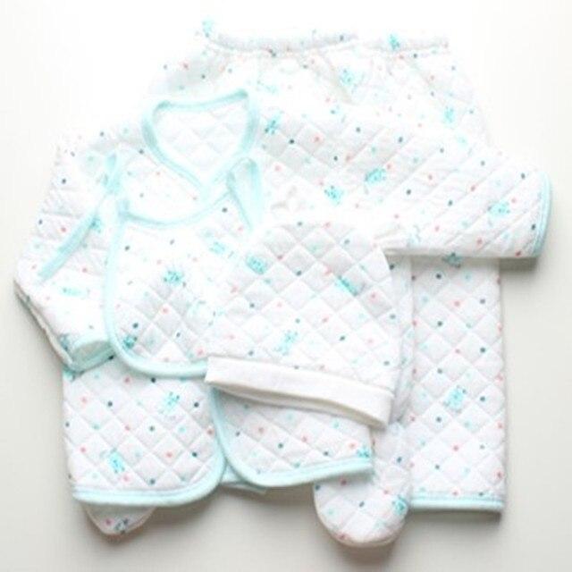 Детские осенние и зимние ребенок 5 сэндвич кусок набор новорожденный нижнее белье одежда 100% хлопок тепловой набор пакет ребенка наборы