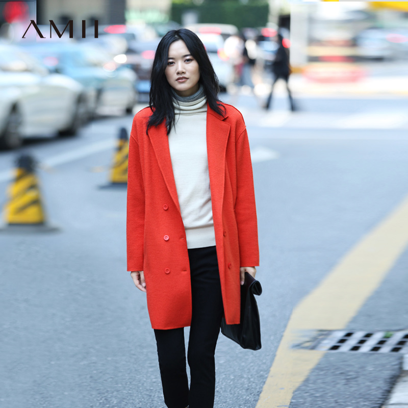 Amii Casual Women Woolen Coat 2018 Winter Wide waisted Double Breasted Turn down Collar Female Wool
