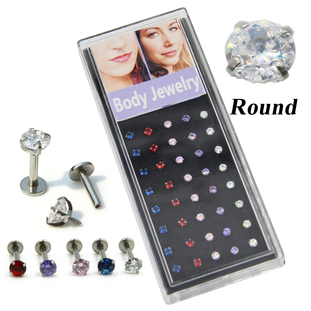 40pieces Round CZ Crystal Ear Tragus Monroe Internally
