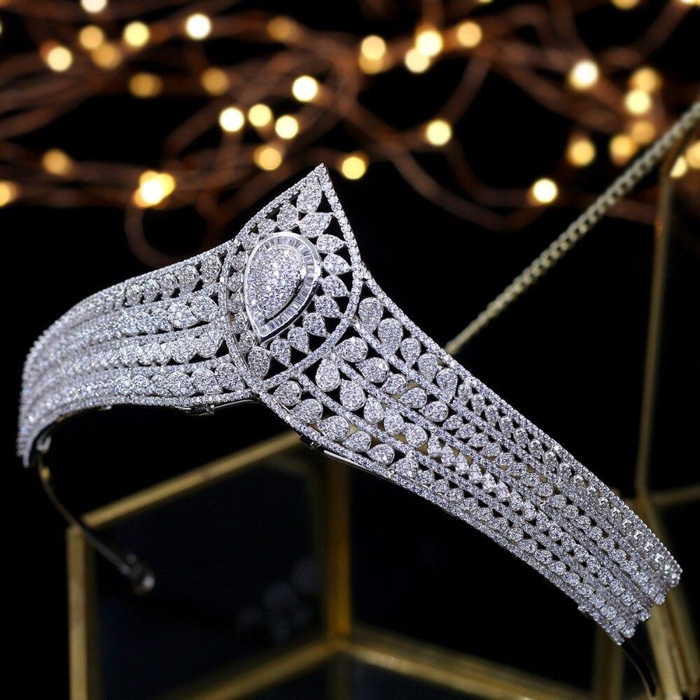 Asnora lojalnych Cirzon tiary kryształy ślubne Tiara akcesoria do włosów dla nowożeńców Tiara de noiva księżniczka korony w Biżuteria do włosów od Biżuteria i akcesoria na  Grupa 1