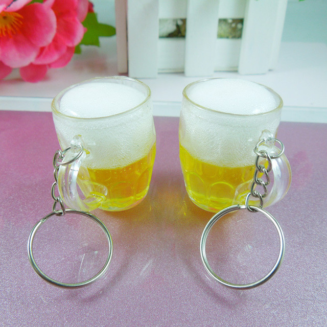 Hot Women Men Resin Beer Cups Simulation Food Handicraft Key Chain For Car Bag Key Rings Pendant Jewelry Accessories Gift 1