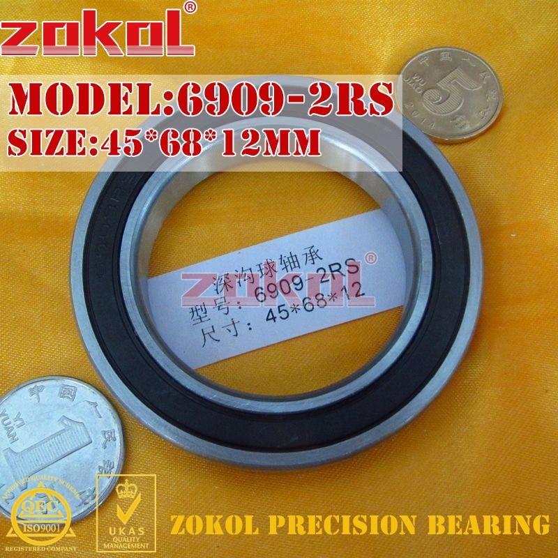 ZOKOL 6909 RS bearing 6909 2RS ZZ 6909ZZ 6909-2RS Deep Groove ball bearing 45*68*12mm