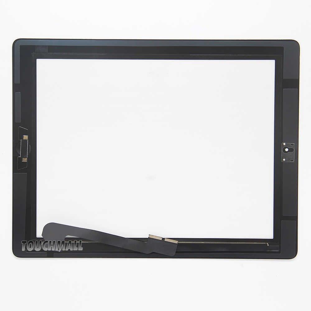หน้าจอสัมผัสใหม่ + ปุ่ม Home + สติกเกอร์ผู้ถือกล้องสำหรับ iPad 3 A1416 A1430 A1403 สีดำสีขาว + เครื่องมือ
