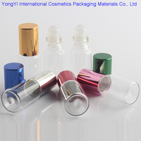 48pcs Clear Glass Essential Oil Roller Bottles With Glass Roller Balls Aromatherapy Perfumes Lip Balms Roll