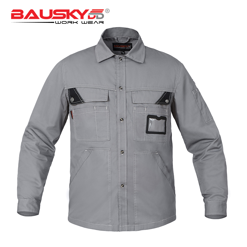 Bauskydd Mens Workwear Work T shirts Long Sleeves Multi pockets ID Pocket Extra Large Size Embroidery Logo grey two side pockets long sleeves outerwear