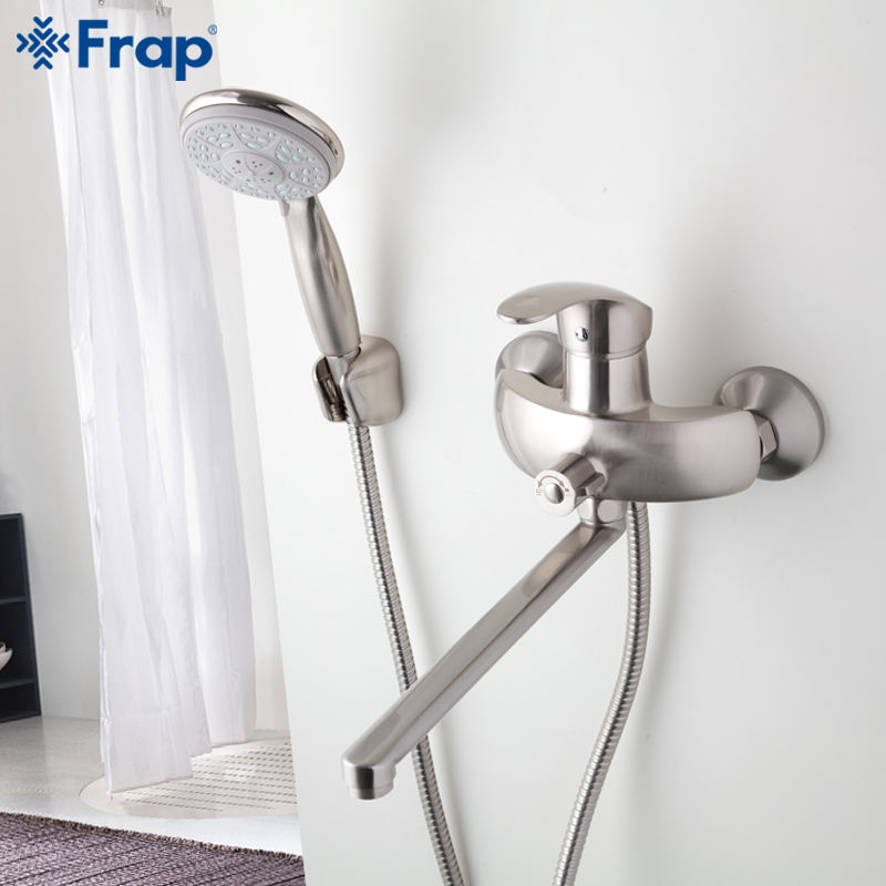 ФОТО 1 set Nickel Brushed Bathroom shower faucet Brass body mixed hot and cold water taps ABS shower head 300mm Outlet pipe F2221-5