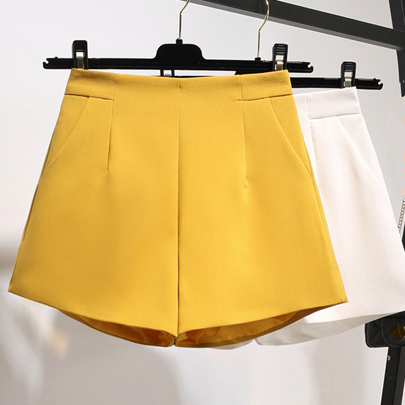 2019 New Lady Womens Fashion High Waisted Wide Leg Xxl Ginger Black Shorts , Casual Woman Women Yellow Shorts